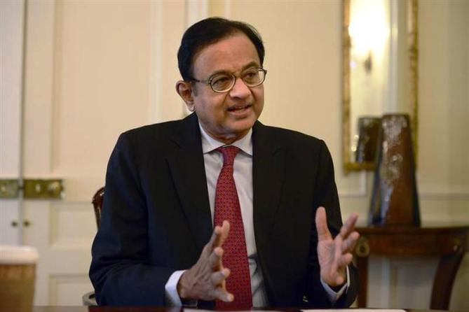 Finance Minister Palaniappan Chidambaram speaks during a news conference in New