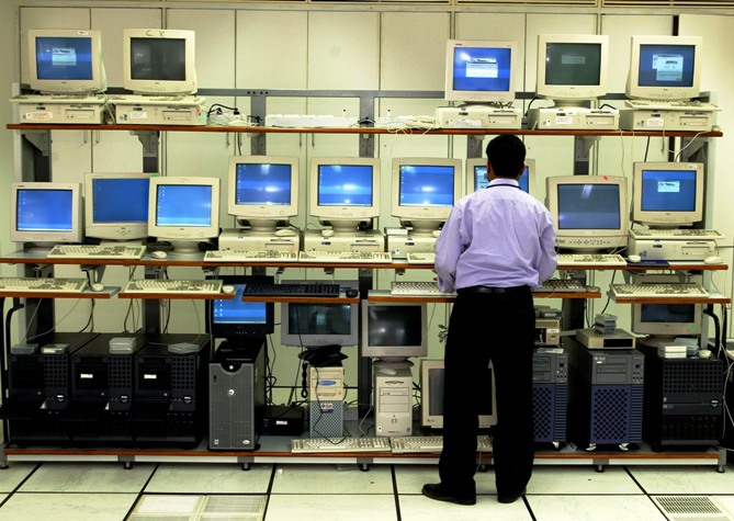 An engineer works in the server room at Infosys, Bengaluru.