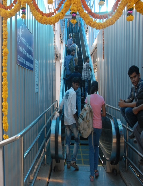 Escalator at Dadar station.