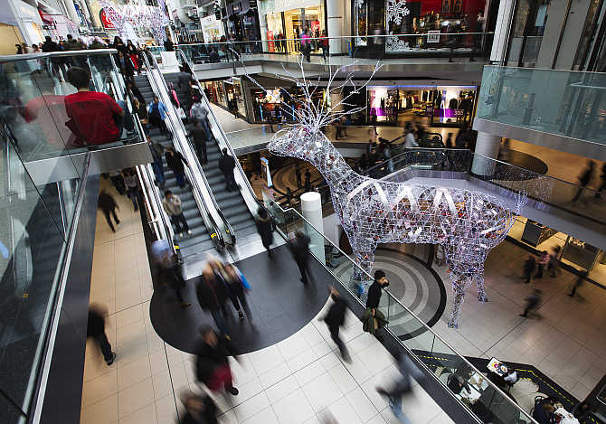 A view of Eaton Centre shopping mall in Toronto, Canada.