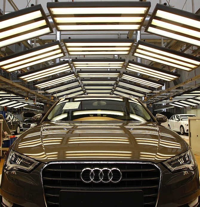 An Audi A3 at the final check area at the production line of the German car manufacturer's plant in the Bavarian city of Ingolstadt, Germany.