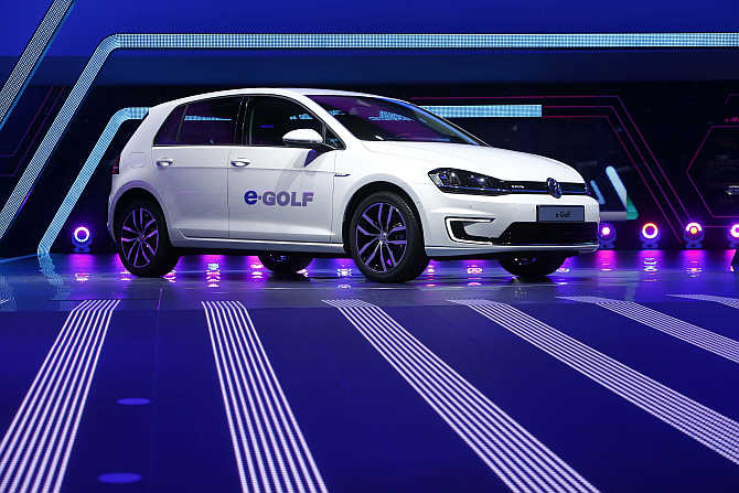 Volkswagen eGolf car on display in Frankfurt, Germany.