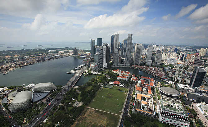 A view shows the skyline of Financial District in Singapore.