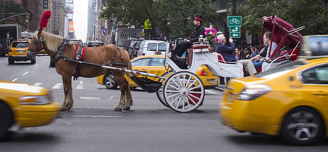 Sightseers await to turn in an intersection during a Central Park carriage ride in New York City, United States.