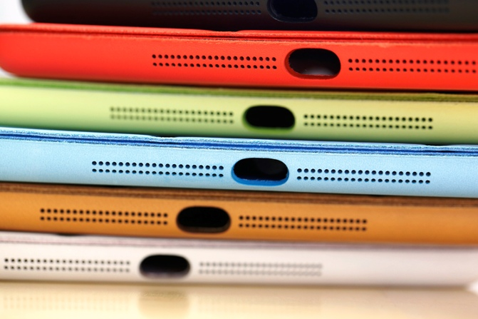 A collection of Apple smart covers are seen at an Apple store.
