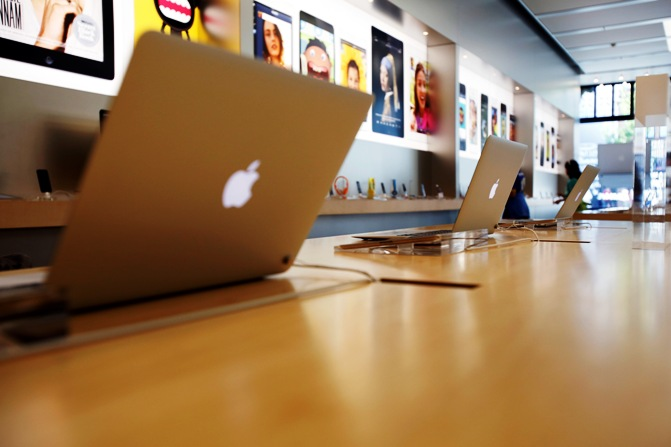MacBook Air laptops are pictured on display at an Apple Store.