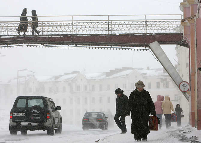 A snowstorm hits the industrial city of Norilsk, Russia.