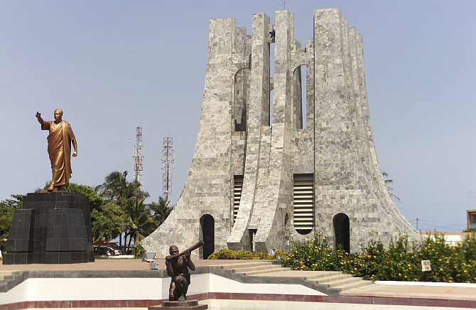 A statue of Ghana's first president Kwame Nkrumah at his memorial park in Accra.