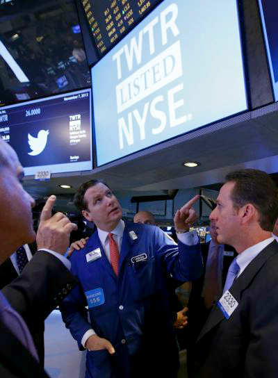Traders await the Twitter Inc. IPO on the floor of the New York Stock Exchange.