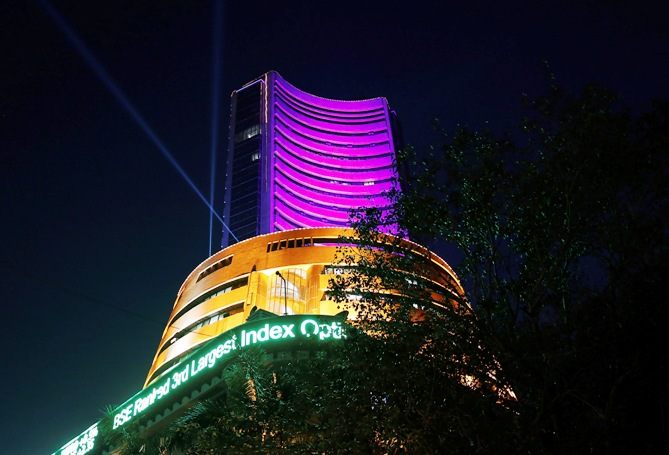 The Bombay Stock Exchange building is illuminated during the Diwali special trading session.