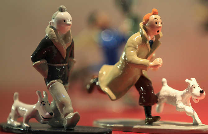 Figurines from the comic strip Tintin by Brussels-born author Georges Remi, better known as Herge, are displayed in a shop at the Herge Museum in Louvain-La-Neuve, Belgium.