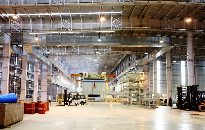 The interior of the Tata Motors' plant in Singur.