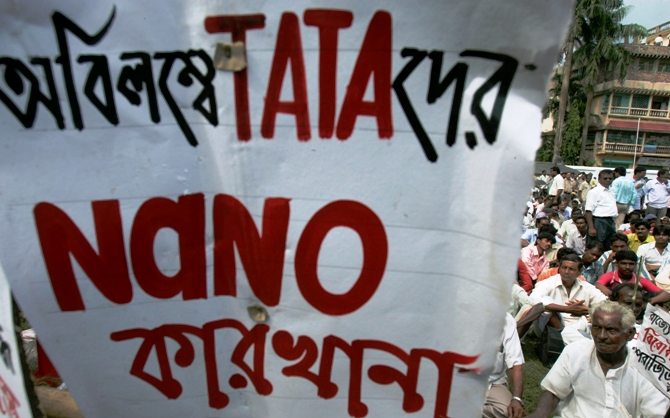 A file photograph shows Left Front supporters gathering in support of the Tata car project at Singur village.