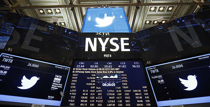 Twitter logo on the floor before the company's IPO at the New York Stock Exchange.
