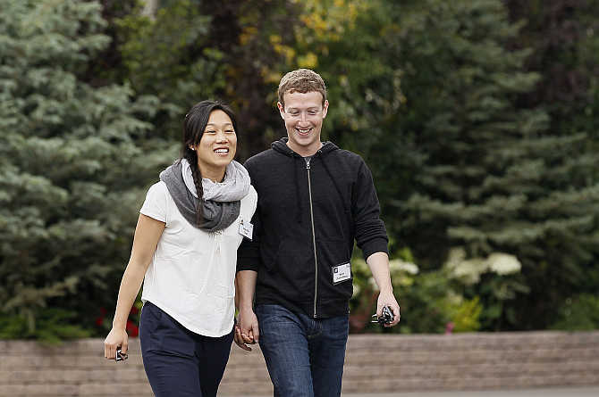Facebook CEO Mark Zuckerberg with his wife Priscilla Chan at the Sun Valley, Idaho Resort, United States.