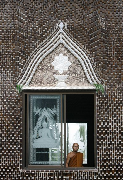 The Thai Buddhist temple has found an environmentally friendly way to utilize discarded bottles to reach nirvana -- using them to build everything in its premises, from a crematorium to shelters and toilets.