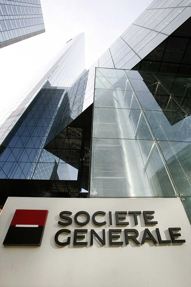A view of the headquarters of French bank Societe Generale in La Defense business area near Paris.