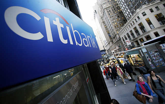 A Citibank sign on the side of a branch in New York.