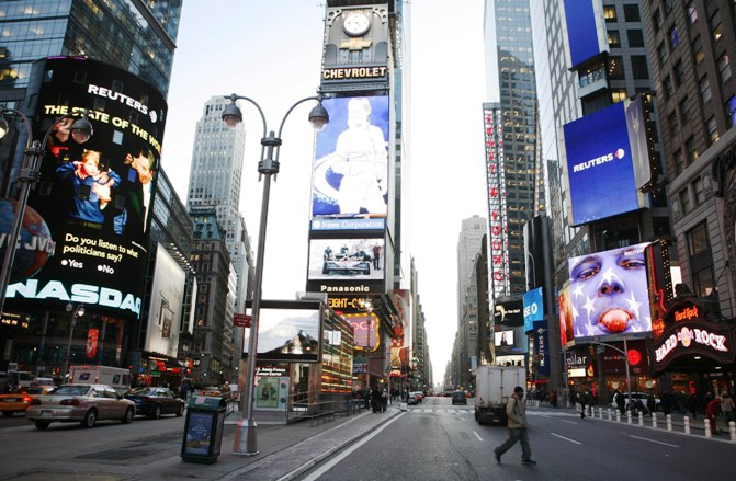 A photo from the Reuters archive shows Reuters screens in Times Square in New York.