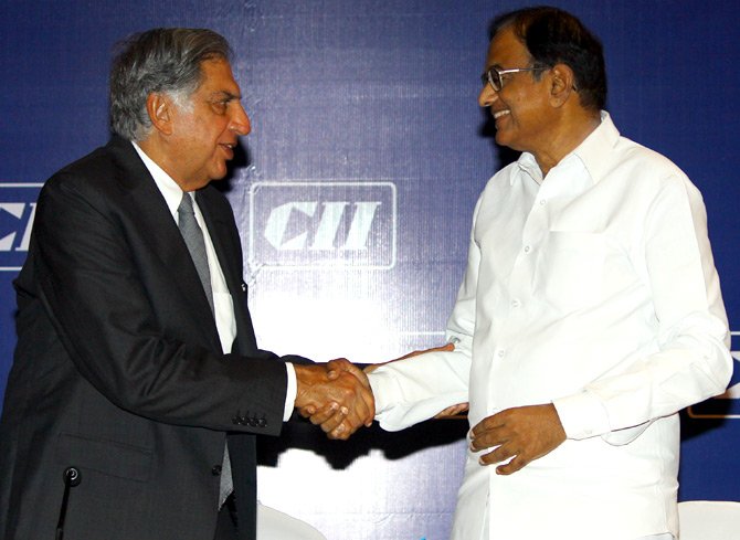 P Chidambaram with Ratan Tata at the CII meet.