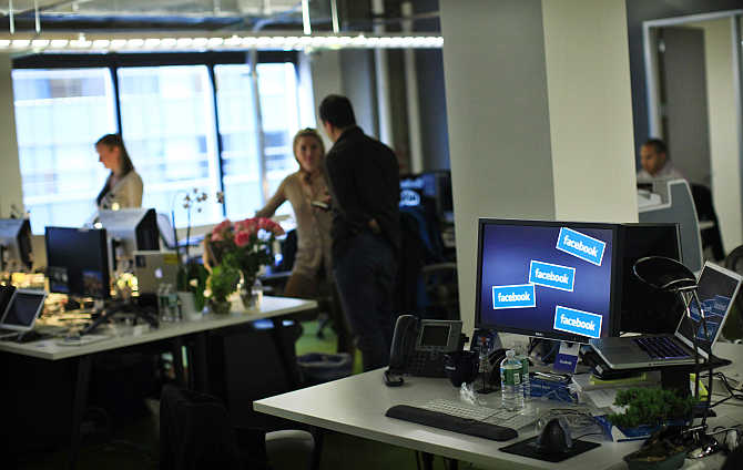 A view of Facebook office in New York, United States.