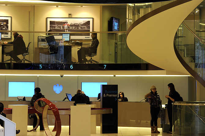 A view of a Barclays branch in central London, United Kingdom.
