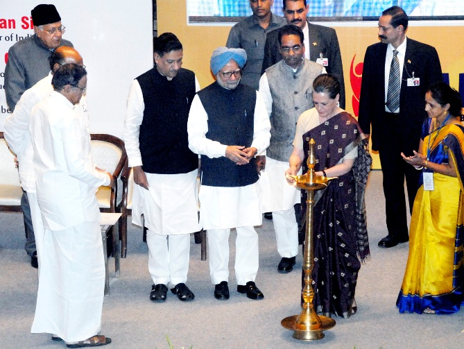 UPA Chairperson Sonia Gandhi lighting the lamp at the inaugural function of the Bharatiya Mahila Bank in Mumbai on Tuesday.