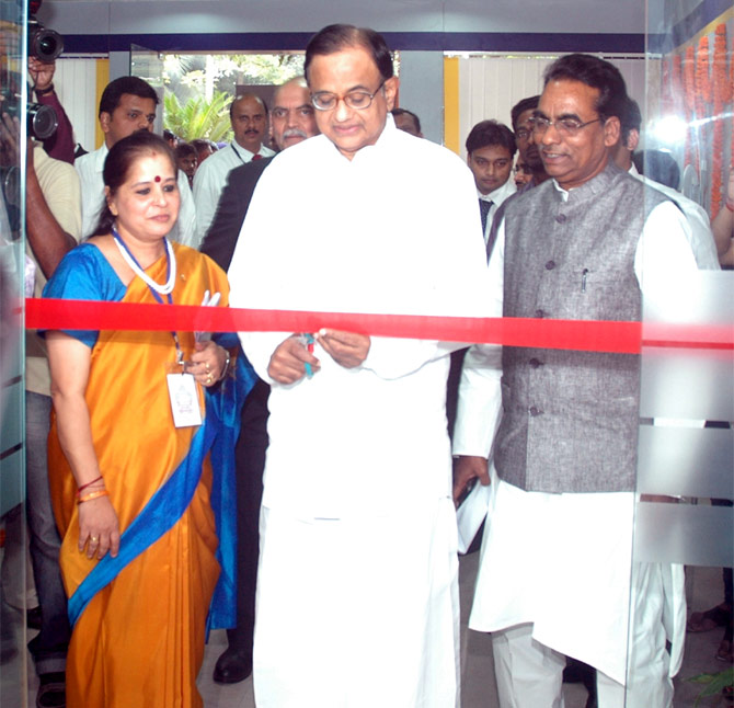 Finance Minister P Chidambaram with Usha Ananthasubramanian at the inauguration of the Bharatiya Mahila Bank.