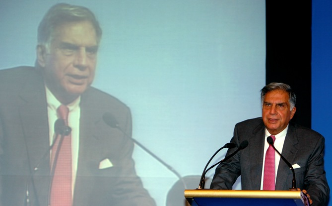 Ratan Tata speaks during a news conference in Mumbai.