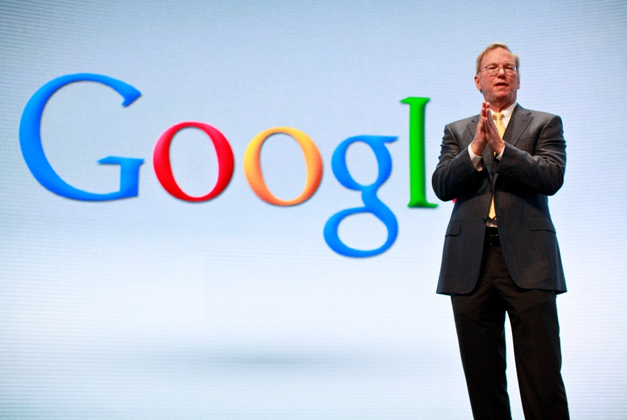 Eric Schmidt speaks at a Motorola phone launch event in New York.