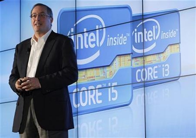 Paul Otellini talks during the company's unveiling of its second generation Intel Core processor family during a news conference at the Consumer Electronics Show (CES) in Las Vegas.