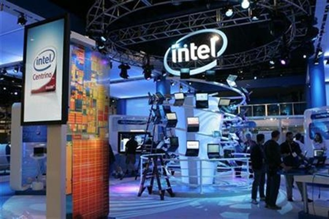 Intel booth for the Consumer Electronics Show (CES) in Las Vegas, Nevada.