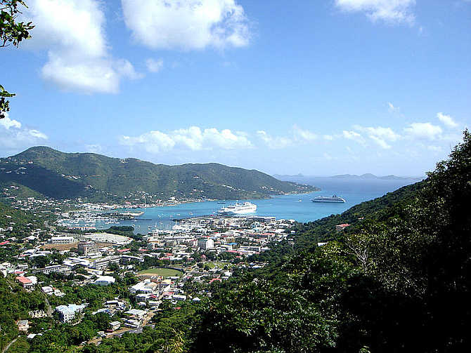 A view of Road Town, Tortola, British Virgin Islands.