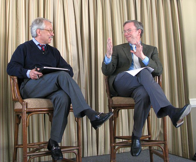 Gary Hamel (left) interviewing Google's Eric Schmidt at the MLab dinner tonight.