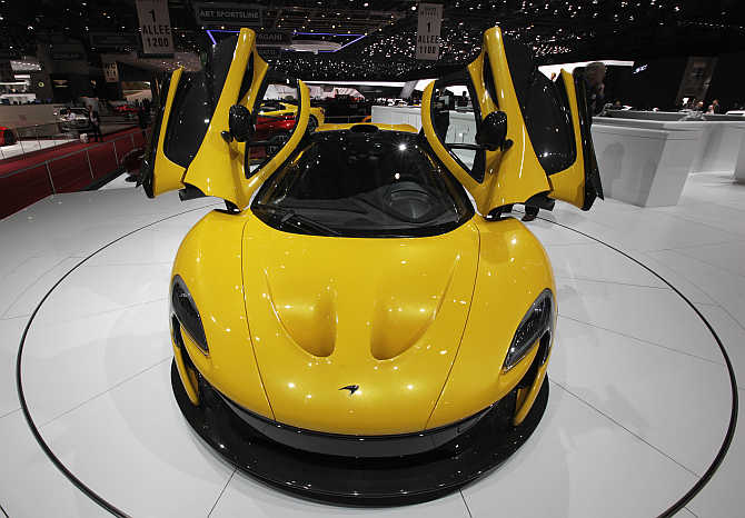 McLaren P1 on display at the Palexpo in Geneva, Switzerland.