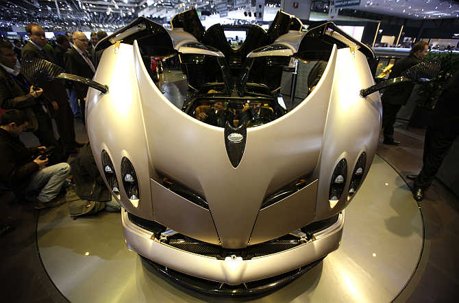 Pagani Huayra on display at the Palexpo in Geneva, Switzerland.