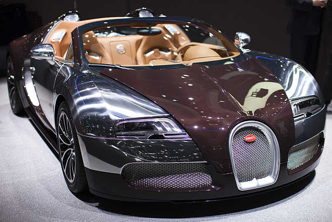 Bugatti Veyron Grand Sport on display at the Palexpo in Geneva, Switzerland.
