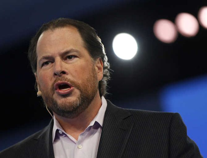 Salesforce CEO Marc Benioff speaks during the Dreamforce event in San Francisco, California.