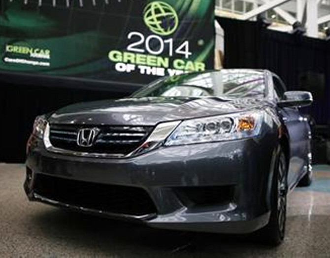 The 2014 Honda Accord Hybrid, which was named Green Car of the Year, is pictured at the Los Angeles Auto Show.