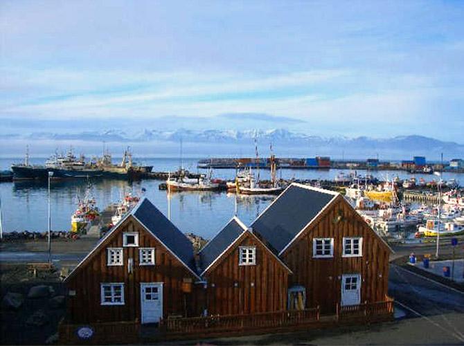 A view of Icelandic town of Husavik.