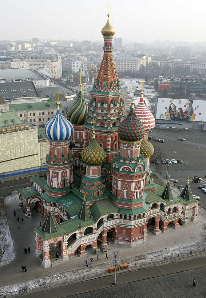 St Basil's Cathedral in Moscow's Red Square, Russia.