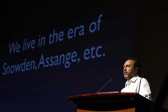 Wikipedia founder Jimmy Wales attends the international Wikimedia conference in Hong Kong.
