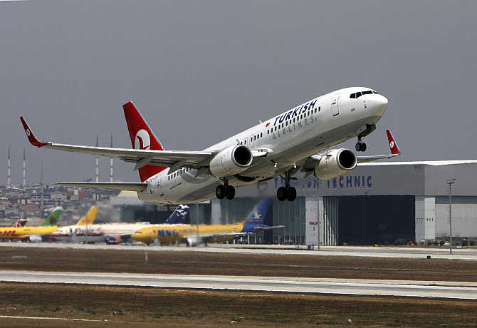 A Turkish Airlines Boeing 737-400 takes off at Istanbul's international airport.