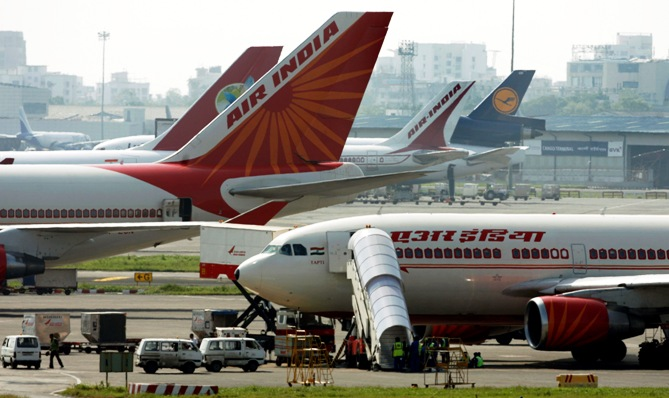 An Air India aircrafts stand on the tarmac at the airport in Mumbai.