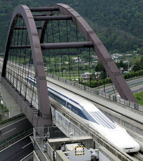 Central Japan Railway Co's Maglev train, which propelled forward by magnetic force.