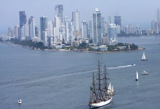 Brazil-registered Cisne Blanco ship arrives at the Caribbean port of Cartagena.