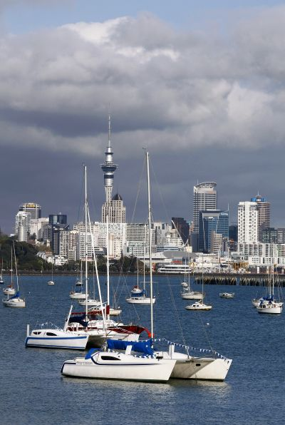 A view of the city skyline of Auckland.