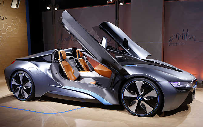 BMW i8 Concept Spyder hybrid gas/electric car is displayed in New York City.