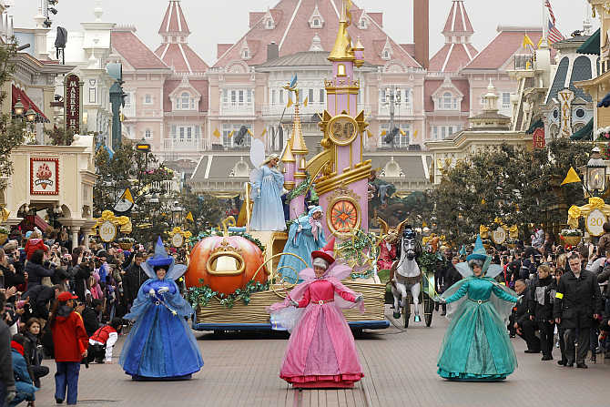 Magic Disney Parade marks 20th anniversary of Disneyland Resort in Marne-la-Vallee, outside Paris, France.