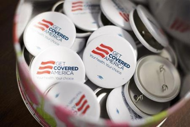 Get Covered America buttons are seen during a training session in Chicago, Illinois.